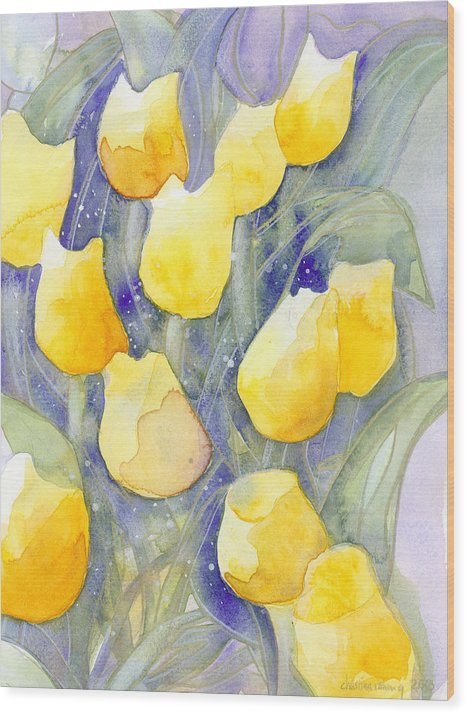 Yellow Tulips Wood Print featuring the painting Yellow Tulips 1 by Christina Rahm Galanis
