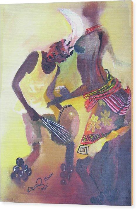 Wood Print featuring the painting Larakaraka Dance by Okwir Isaac