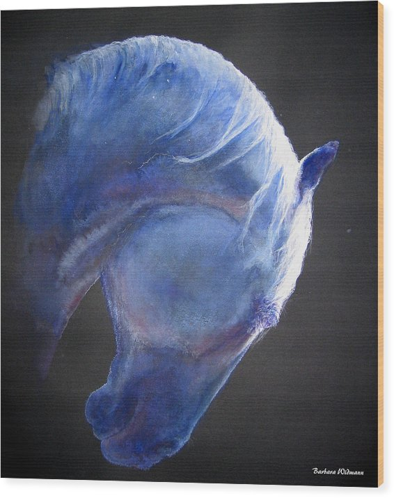 Horse Wood Print featuring the painting Crescent Moon by Barbara Widmann