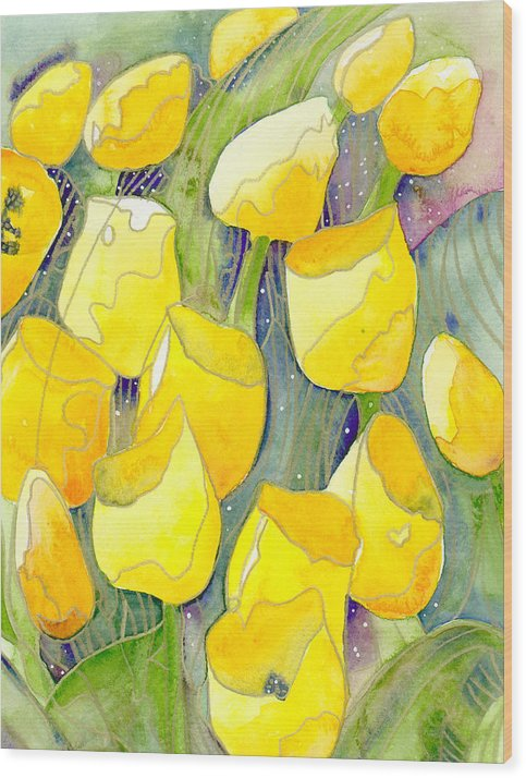 Yellow Tulips Wood Print featuring the painting Yellow Tulips 2 by Christina Rahm Galanis