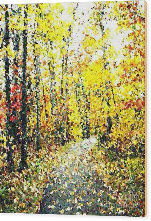Fallscape Wood Print featuring the painting Fallen Leaves Of Autumn by Don Phillips