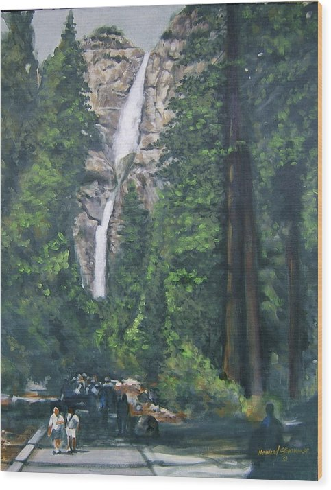 Yosemite National Park Wood Print featuring the painting Yosemite by Howard Stroman