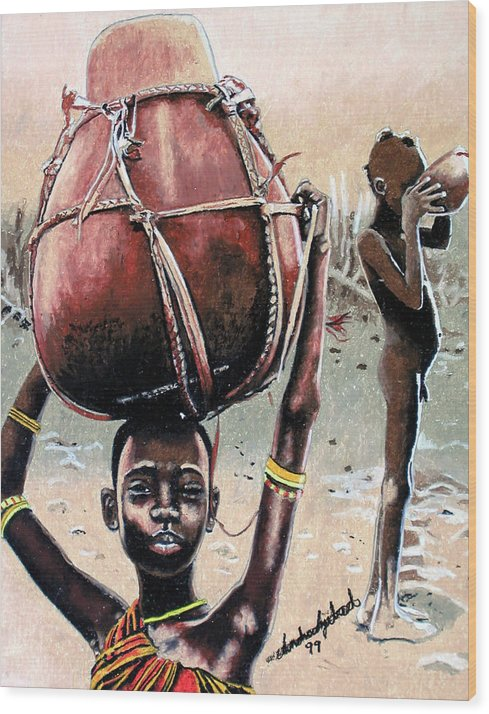 Black Art Wood Print featuring the painting Thirst Quencher by Andre Ajibade