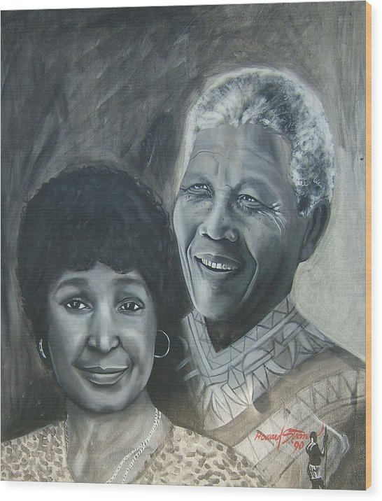 From Black & White Series Wood Print featuring the painting Nelson and Winnie by Howard Stroman
