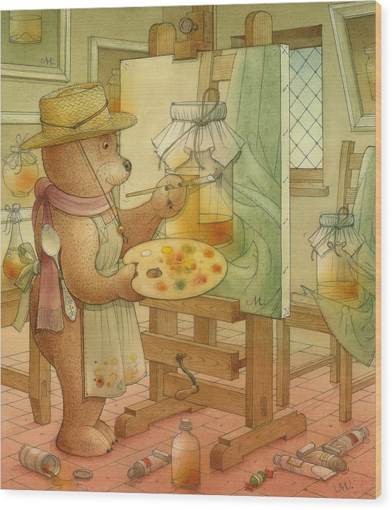 Artist Painting Bear Animals Honey Still-life Wood Print featuring the painting Artist by Kestutis Kasparavicius