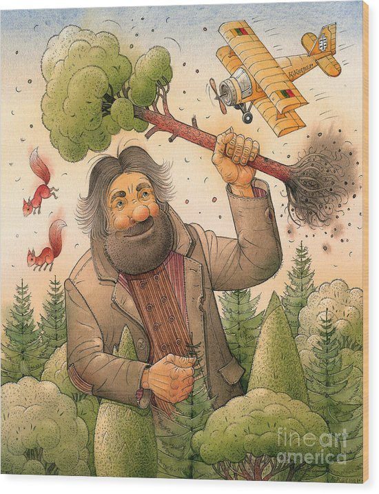 Giant Forest Landscape Tree Airplane Wood Print featuring the painting Giant by Kestutis Kasparavicius