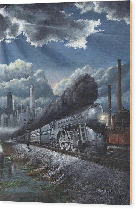Train Wood Print featuring the painting Eastbound Twentieth Century Limited by David Mittner