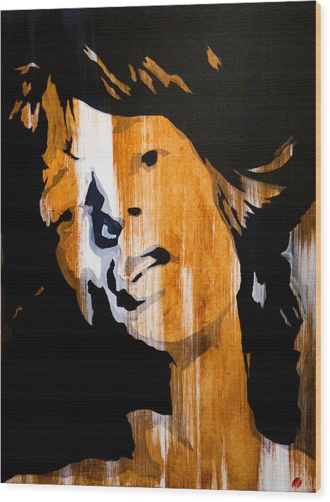 Mick Jagger Wood Print featuring the painting Mick Jagger Satisfaction by Brad Jensen