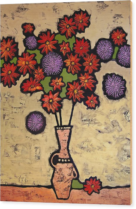 Still Life Wood Print featuring the painting Red and Purple by Farhan Abouassali