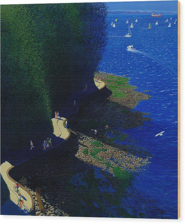 Landscape Wood Print featuring the painting North Seawall At Low Tide by Neil Woodward
