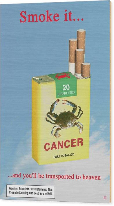 Anti-smoking Posters Wood Print featuring the digital art Smoke It... by Jose Gomis