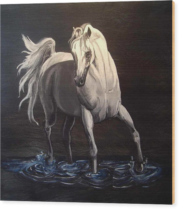 Equine Wood Print featuring the painting Midnight Prance by Glenda Smith