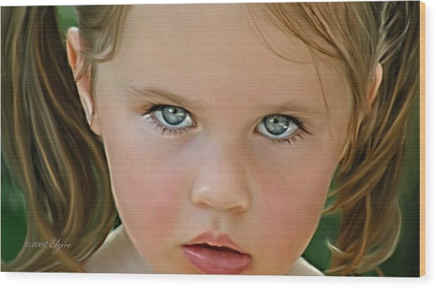 Wood Print featuring the painting Those Eyes by Elzire S