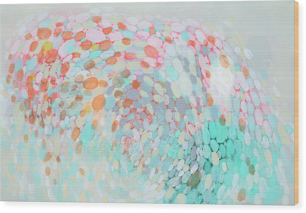 Abstract Wood Print featuring the painting Want To Go by Claire Desjardins