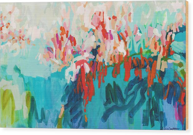 Abstract Wood Print featuring the painting What Are Those Birds Saying? by Claire Desjardins