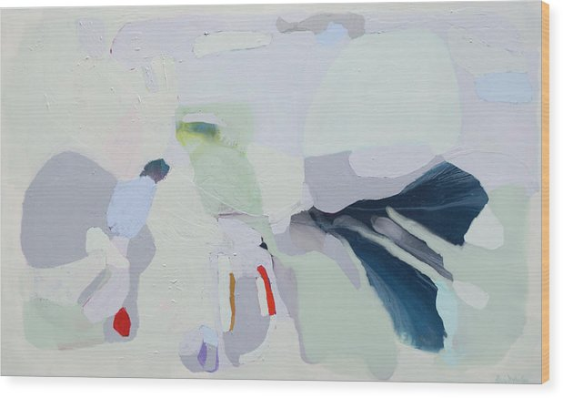 Abstract Wood Print featuring the painting Breathe by Claire Desjardins
