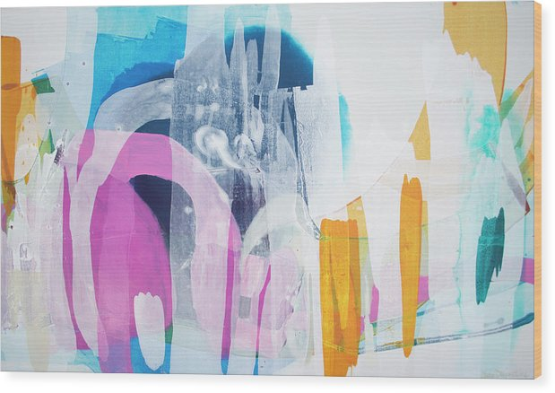 Abstract Wood Print featuring the painting Icing On The Cake by Claire Desjardins