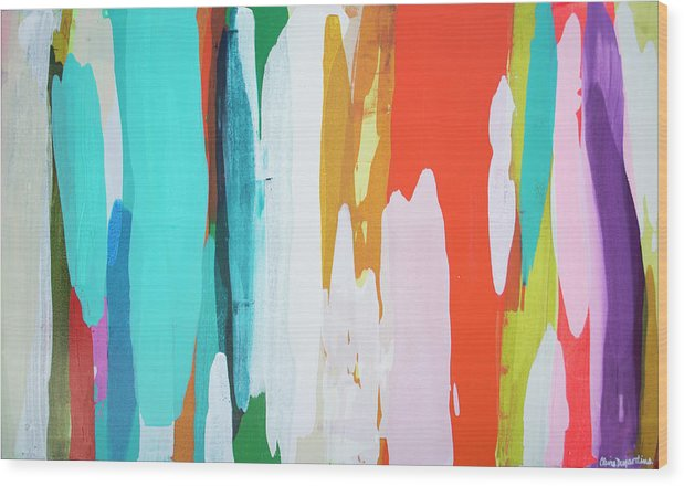 Abstract Wood Print featuring the painting Holiday Everyday by Claire Desjardins