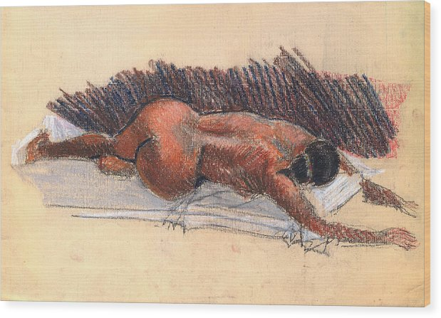 Woman Nude Life Drawing Pastel Paper Wood Print featuring the drawing Nude Woman 09 by Nelson Caramico