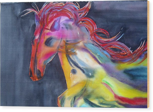 Horse Wood Print featuring the painting Americano by Maritza Bermudez