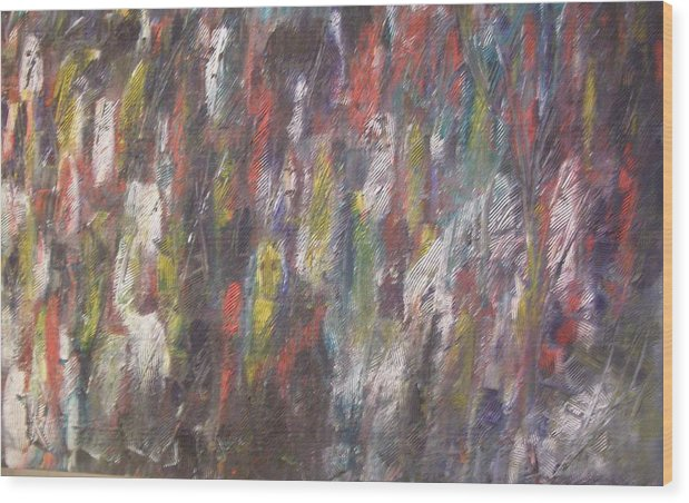 Abstract Wood Print featuring the painting Jungle Spirits by Don Phillips