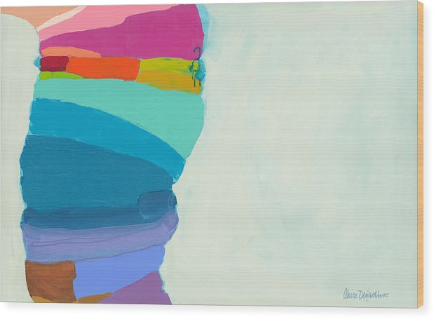 Abstract Wood Print featuring the painting The Right Timing by Claire Desjardins