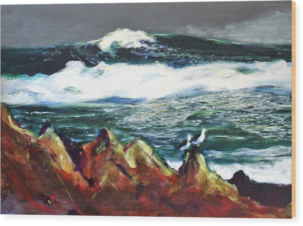 Seascape Wood Print featuring the painting Near Pacific Grove by Paul Miller