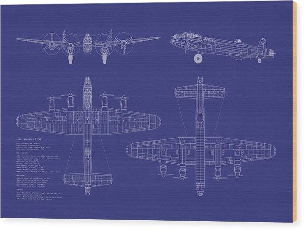 Avro Lancaster Bomber Wood Print featuring the digital art Avro Lancaster Bomber Blueprint by Michael Tompsett