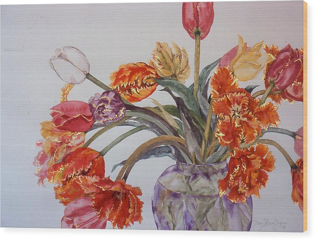 Watercolor Wood Print featuring the painting Tulip Bouquet - 12 by Caron Sloan Zuger