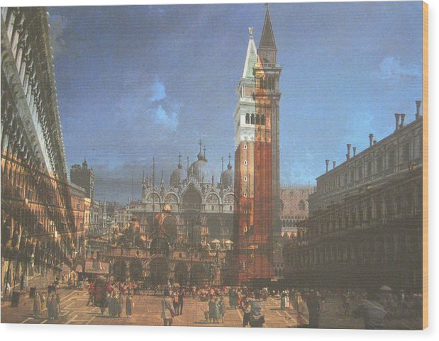 Landscape Wood Print featuring the painting After St. Mark's Square by Hyper - Canaletto