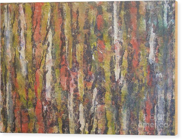 Landscape Of Trees Wood Print featuring the painting Autumn Trees by Don Phillips