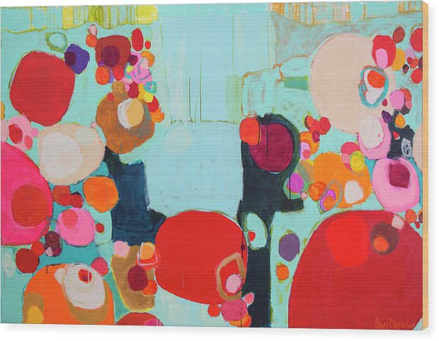 Abstract Wood Print featuring the painting Bright As Quiet by Claire Desjardins