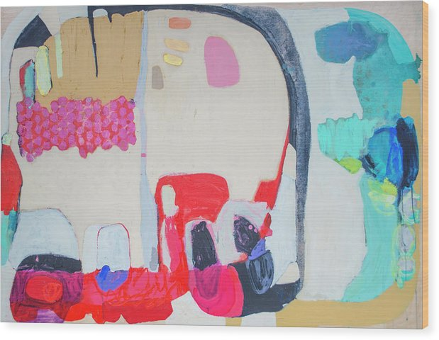 Abstract Wood Print featuring the painting Fast Friends by Claire Desjardins