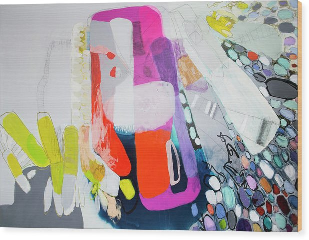 Abstract Wood Print featuring the painting How Many Fingers? by Claire Desjardins