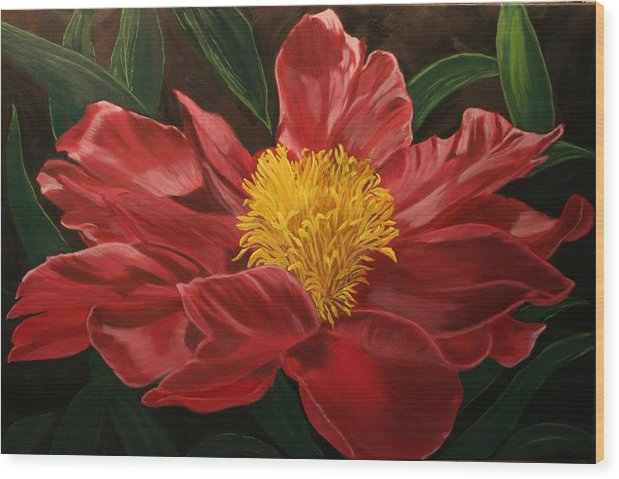 Floral Wood Print featuring the painting Peony Japonica by Robert Tower