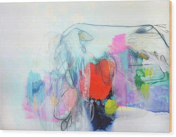 Abstract Wood Print featuring the painting Whisper by Claire Desjardins