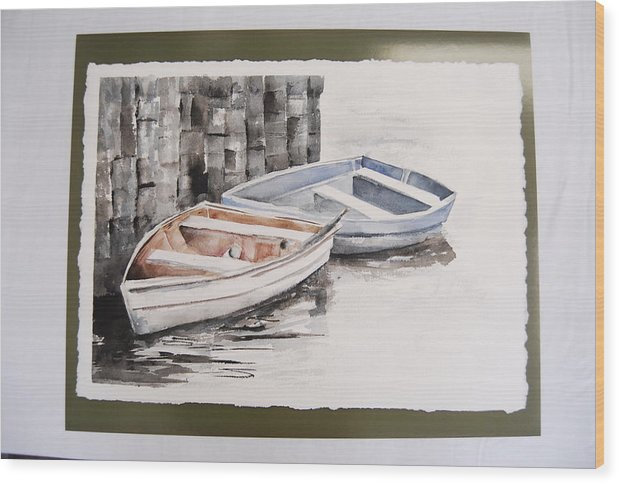 Two Rowboats At Rest At Pier Wood Print featuring the painting 2 Rowboats At Rest by Marti Kuehn