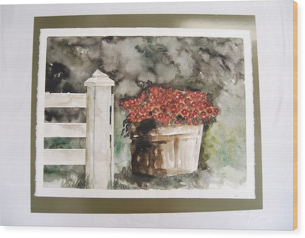 Mums In Basket By Fence Post Wood Print featuring the painting Basket Of Rust Colored Mums by Marti Kuehn
