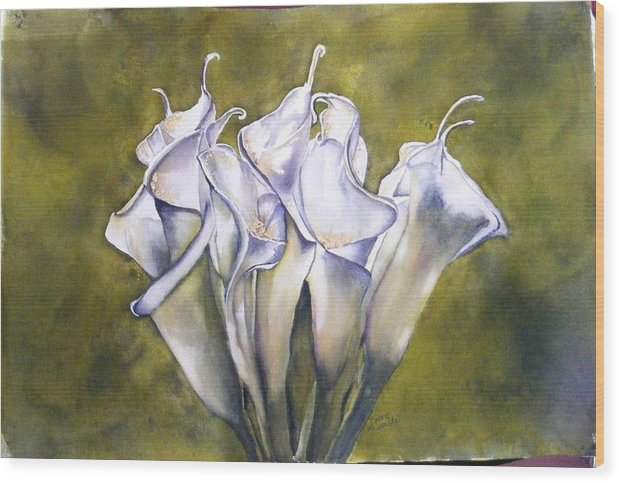 Callas Wood Print featuring the painting Callas 2 by Diane Ziemski