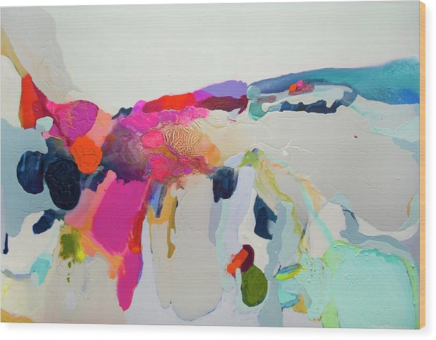 Abstract Wood Print featuring the painting Reach In Reach Out by Claire Desjardins