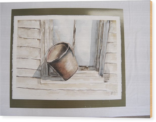Landscape Of Shakertown Bucket In Winter Wood Print featuring the painting Shakertown Bucket by Marti Kuehn