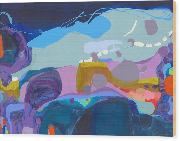 Abstract Wood Print featuring the painting Rush Hour by Claire Desjardins