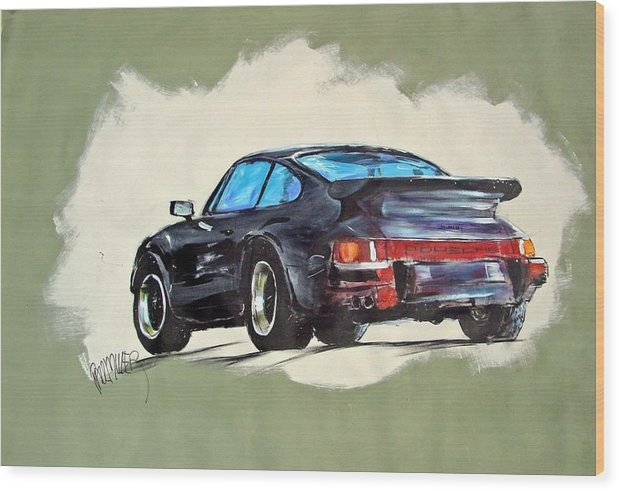 Auto Wood Print featuring the painting Carrera by Paul Miller