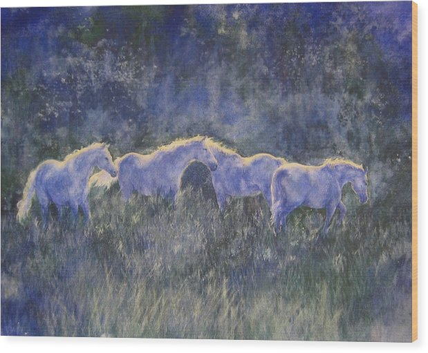 Landscape Wood Print featuring the painting Horizonline by Barbara Widmann
