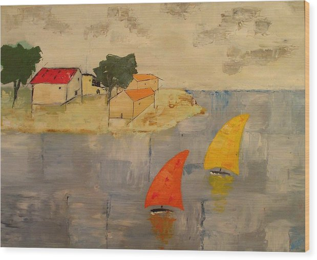 House Wood Print featuring the painting Sailing-boats by Anthony Meton