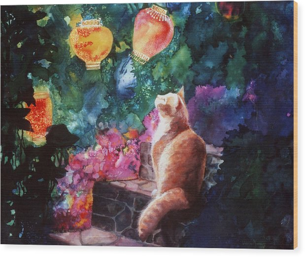 Kitty Wood Print featuring the painting Summer Magic by Valerie Aune
