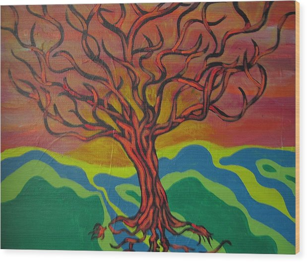 Tree Wood Print featuring the painting Burning Tree by Rebecca Jankowitz