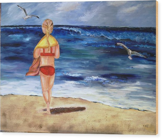 Children Wood Print featuring the painting A Day At The Beach by Pamela Squires
