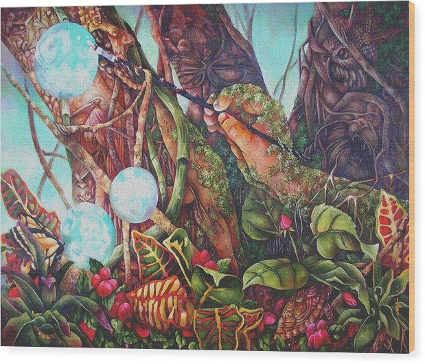 Magical Realism Wood Print featuring the painting The Genesis Totem by Monica Linville