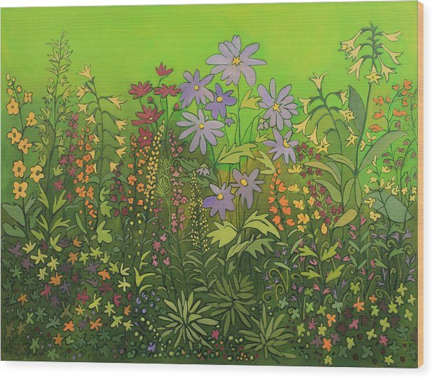 Contemporary Floral Painting Wood Print featuring the painting Artist by Susan Rinehart